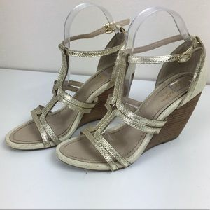 Seychelles Women's Strappy Gold Wedges Leather
